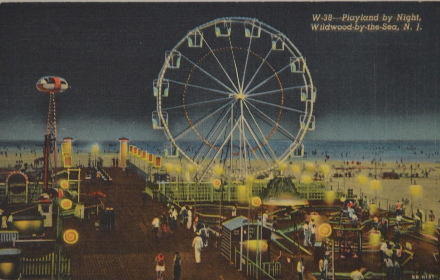 Postcard -- Wildwood by the Sea -- Playland by Night