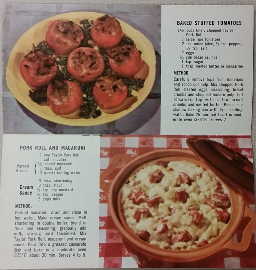 Taylor Pork Roll Recipes for Baked Stuffed Tomatoes and Pork Roll and Macaroni