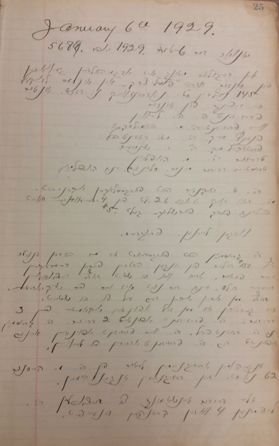 Poile Zedek minutes written in Yiddish