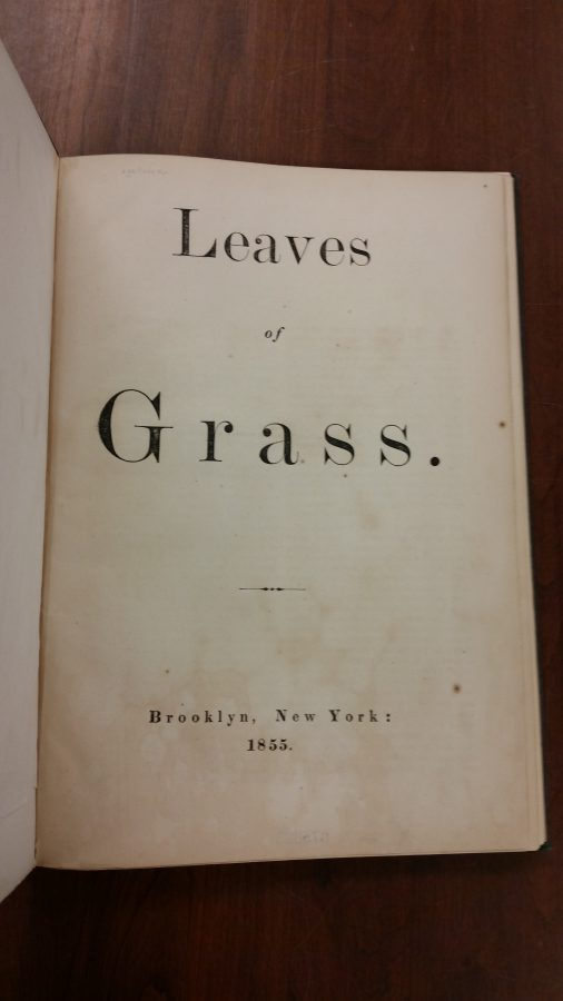 "1855 title page for ""Leaves of Grass."""
