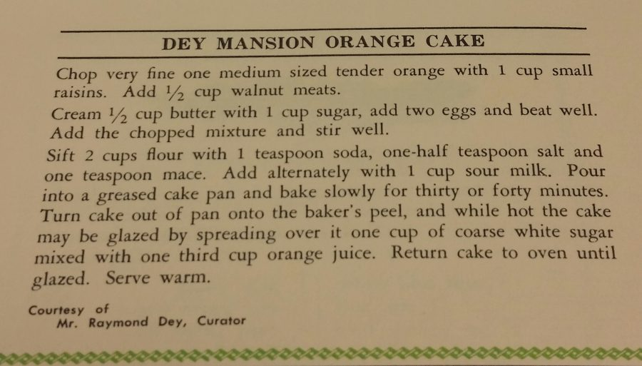 Recipe for Dey Mansion Orange Cake.