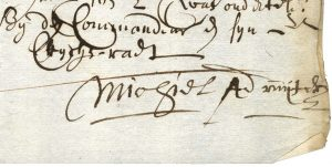 Detail from a doccument showing signature of Michiel A. de Ruyter