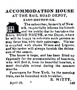 "Advertisement for the newly established hteol titled ""Accommodation House at the Rail Road Depot, East Brunswick"" by R. Witty"
