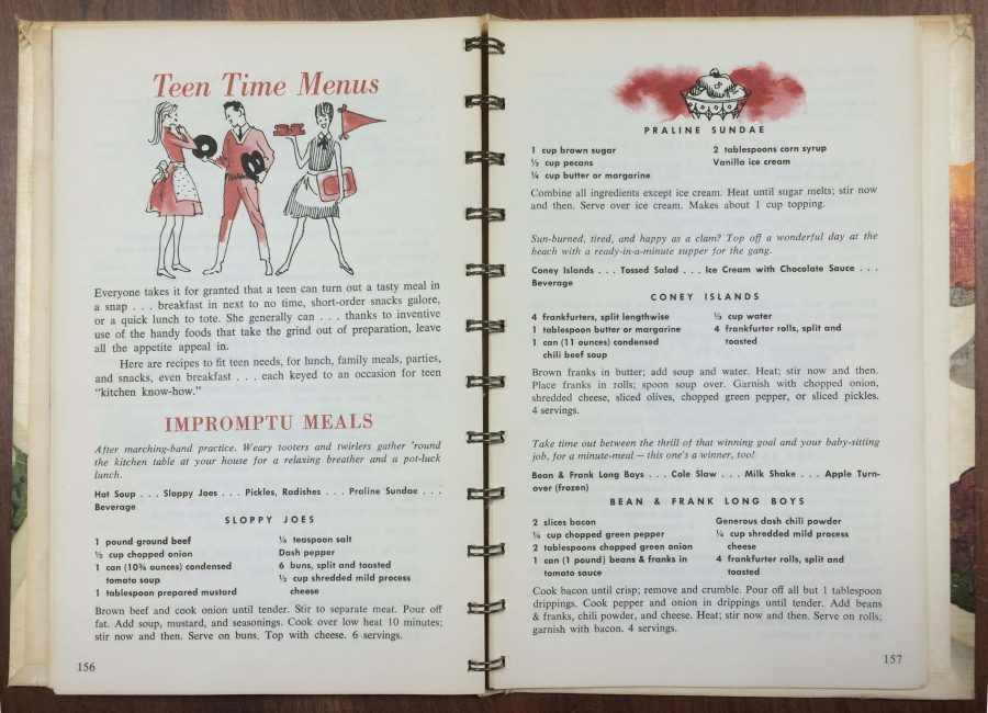 """Teen time menus"" in a 1950s Campbell cook book"