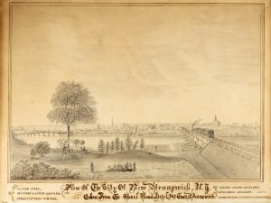 "Pencil sketch copy of lithograph by J.H. Bufford with caption ""View of the City of New Brunswick, N.J.: Taken from the Rail Road Hotel at East Brunswick."""