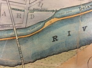 Detail of a colored map showing Raritan River and rail road bridge