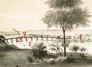 Detail of the litograph depicting bridge over the RaritanRiver  and horse back rider on the river bank