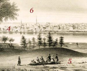 Detail of the lithograph depicting hikers sitting on a tree trunk admiring the view