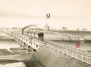 Detail of the lithograph depicing railroad bridge with train and Rutgers College in the distance