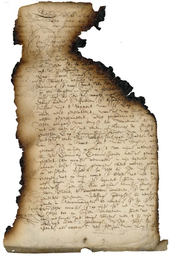 Photo of document with 17th century writing with burn marks on the sides and top right missing