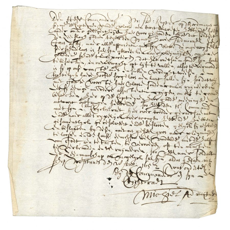 Document in 17th century writing signed by Michiel A. de Ryter
