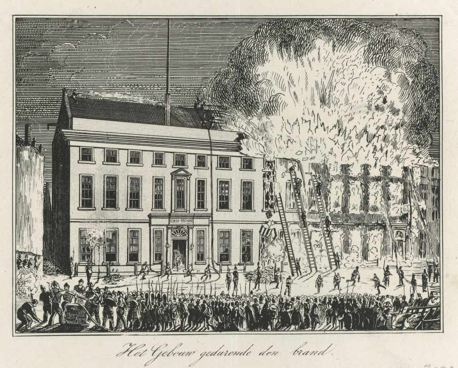 Engraving of large building on fire, showing fire fighters climbing ladders and materials thrown out of the windows
