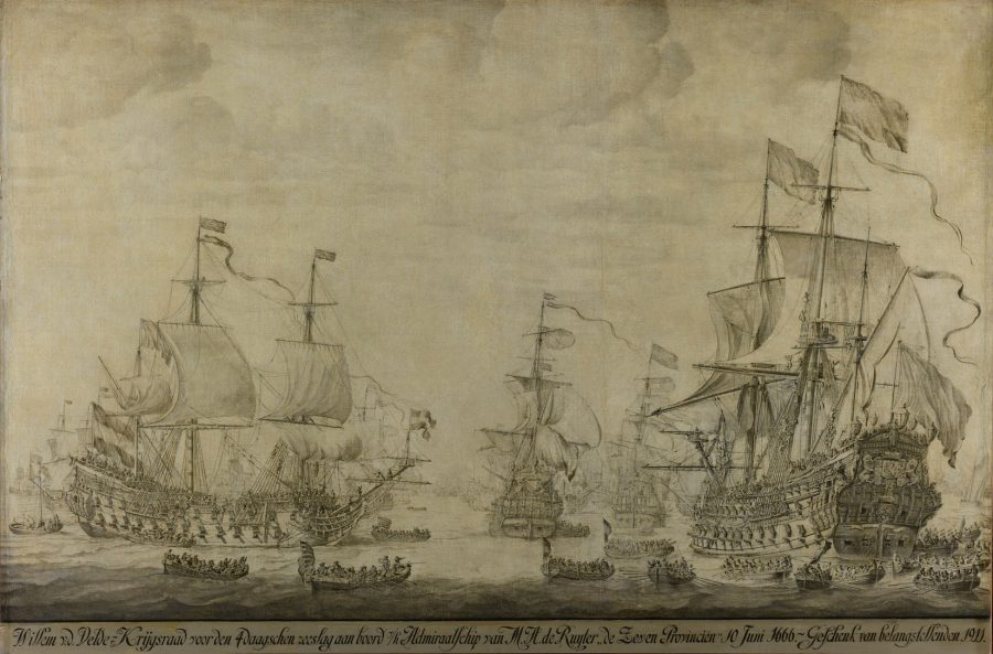 Ink drawing of Michiel de Ruyter's flag ship and other sailing ships and  men in small  rowing boats
