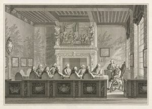 Print of 11 wigged men around a table talking to stadtholder William V seated on right