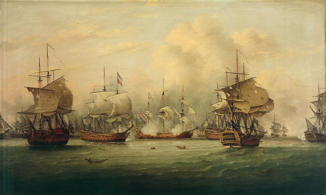 Oil painting of sailing ships with damanged sails in naval battle