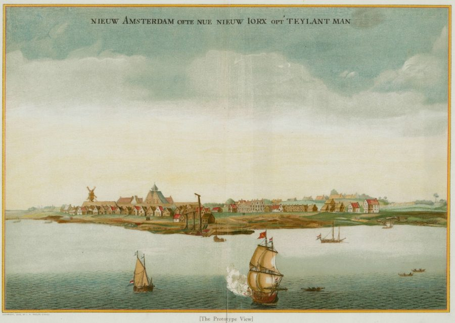 Depiction of Manhattan island seen from the water, showing houses, mills, and ships