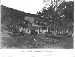 "Black and white postcard showing home among trees with caption ""House of Col. Johannes Hardenbergh."""