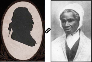Composite photo showing silhouette of Jacob Rutsen Hardenbergh on left and Sojourner Truth on right