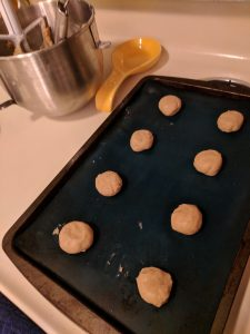 Cookie dough on cookie sheet