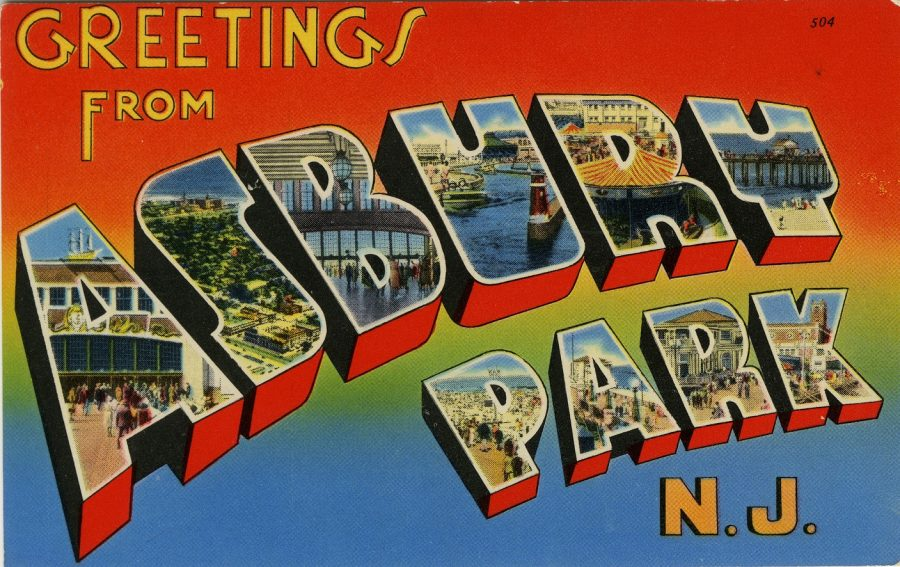 "Postcard with text ""Greetings from Asbury Park NJ"""