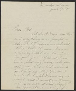 "First page of handwritten letter, dated June 7, 1918, written from ""Somewhere in France."""