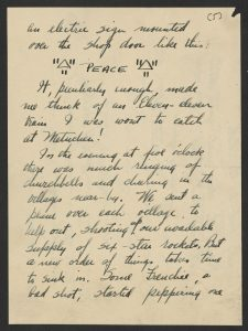 page from letter describing sign comemmorating declaration of peace on November 11, 1918