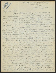 Page from handwritten letter
