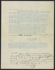 typewritten letter with handwritten note at bottom